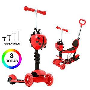 Patinete Infantil 3 Rodas Joaninha Vermelho 2 em 1 DM Toys