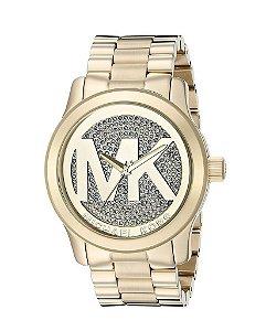 Relógio Feminino Michael Kors Runway Gold Dial Crystal Pave - Modelo Mk5706 Banhado A Ouro 18K