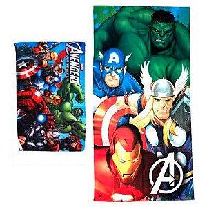Kit Toalha de Banho e Mão Avengers Felpuda Infantil Personagens