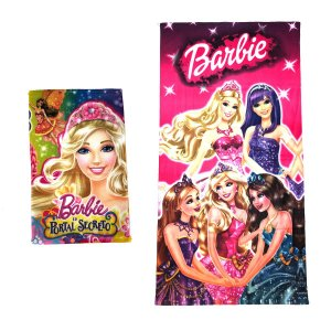 Kit Toalha de Banho e Mão Barbie Felpuda Infantil Personagens