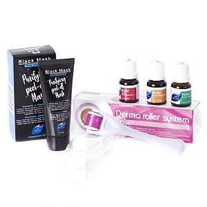 Kit Dermaroller + Vitamina C Pura + Acido Hialuronico + Colágeno + Máscara Removedora de Cravos
