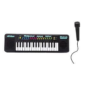 Piano Teclado Musical Infantil Eletrônico 32 Teclas Com Karaoke Microfone