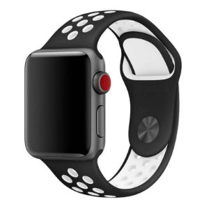 Pulseira Silicone  Esportivo Para Apple Watch 42mm - Preto com Branco