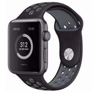 Pulseira Silicone Esportiva Para Apple Watch  42 mm- Preto/Cinza
