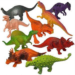 Kit 12 Dinossauros de Plástico Realista Prextex Modelos Sortidos Com Livro Didático