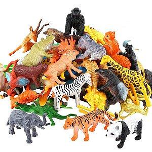 Kit Mini Animais Realista Selvagem ValeforToy de Plástico com 54 Peças de Animais da Selva
