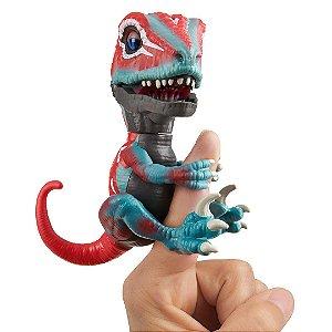 Dinossauro Raptor Mutante Agarradinhos  Fingerlings Untamed Vermelho e Azul