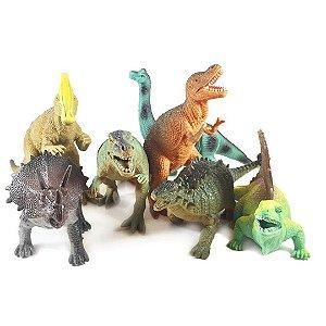 Kit 12 Dinossauros Educativos Realista Boley de Plástico