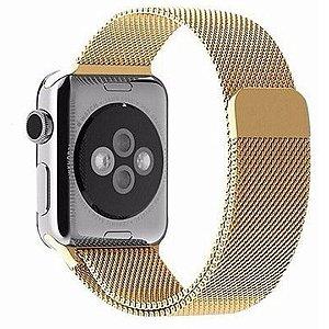 Pulseira Milanese Magnética Para Apple Watch 38mm - Dourado