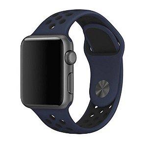 Pulseira Silicone Esportiva Para Apple Watch 38mm - Azul Marinho/Preto