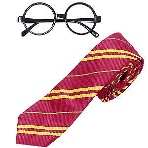 Kit Estilo Harry Potter Conjunto Infantil Cosplay com Óculos e Gravata