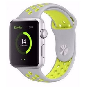 Pulseira Silicone Esportiva Para Apple Watch 38mm - Cinza/Amarelo