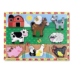 Quebra Cabeça de Madeira Melissa & Doug Infantil Animais da Fazenda