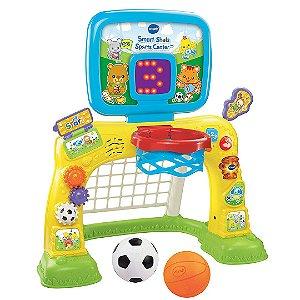 Centro Esportivo 2 Em 1 Vtech Basquete e Futebol Infantil Com Painel de Pontuação