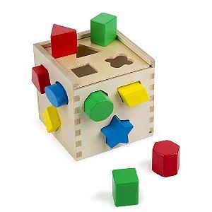 Brinquedo Cubos de Madeira Melissa & Doug Infantil Clássico com 12 Formas para Bebê