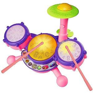 Conjunto de Baterias Vtech Eletrônico Infantil com Baquetas e Melodias e Luzes