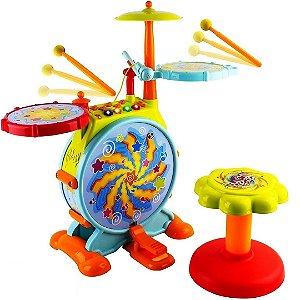 Conjunto de Bateria de Brinquedo Elétrico WolVol Infantil com Microfone e Banquinho