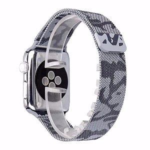 Pulseira Milanese Para Apple Watch 38mm - Camuflada Cinza