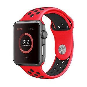 Pulseira Silicone Esportiva Para Apple Watch 42mm Vermelho/Preto