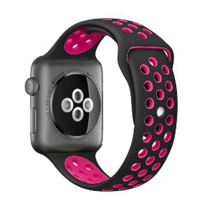 Pulseira Silicone Esportiva Para Apple Watch 42mm Preto/Rosa