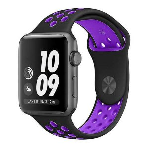 Pulseira Silicone Esportiva Para Apple Watch 42mm Preto/Roxo