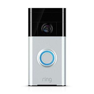 Campainha de Vídeo Câmera Ring HD Níquel Acetinado com Visão Noturna Infravermelho e Wifi