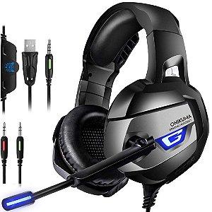 Headset Gamer Onikuma Auricular Estéreo para Jogos com Microfone e Intercomunicador