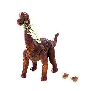 Dinossauro jurassic world Diplodocus Eletrônico Bota Ovo Anda Emite Luz E Som