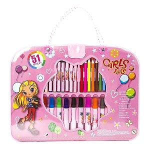 Kit Estojo de Colorir  Infantil Menina Girls Rule  51 Peças