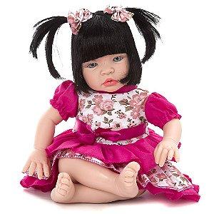 Boneca Baby Kiss Morena Tipo Reborn Chora E Balbucia
