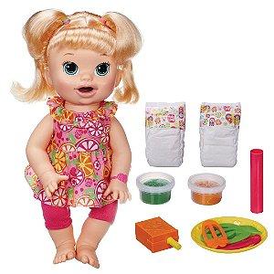Boneca Baby Alive Infantil Hora de Comer Bebê Loira