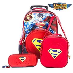 Kit Mochila Rodinhas Super Man Homem 2