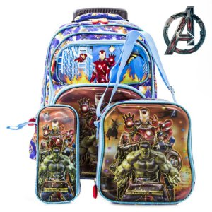 Kit Mochila Escolar Infantil Rodinhas Vingadores Avenger 3D