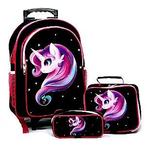 Mochila Unicornio Rodinhas Brilho Pink Glitter Lancheira Estojo Kit