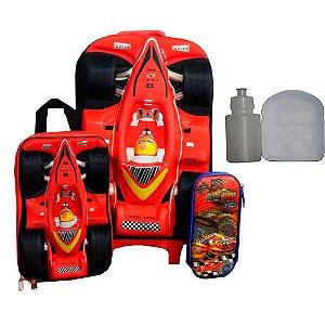 Kit Mochila Escolar Infantil Com Rodinha Fórmula 1