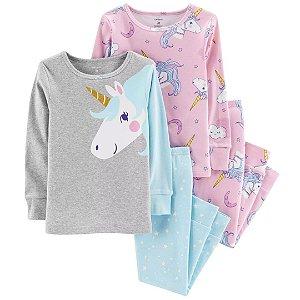 Conjunto Pijama 4 Peças Unicórnio Glitter Carter´s