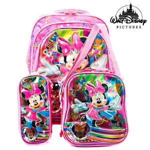 Kit Mochila Infantil Escolar 3D Minnie de Costas