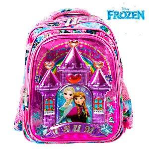 Mochila Infantil Escolar 3D Elsa e Anna Frozen de Costas