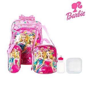 Kit Mochila Escolar Infantil Barbie Com Rodinhas