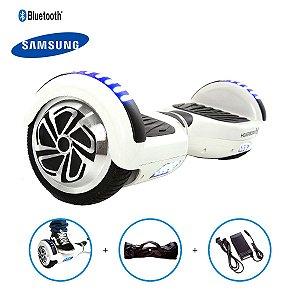 "Hoverboard 6,5"" Branco HoverboardX USA Bateria Samsung Bluetooth Smart Balance Com Bolsa"