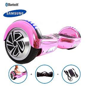 "Hoverboard 6,5"" Pink Cromado HoverboardX USA Bateria Samsung Bluetooth Smart Balance Com Bolsa"