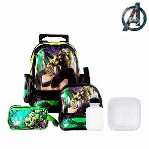 Kit Mochila Infantil Escolar Hulk Com Rodinha