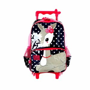 Kit Mochila Escolar Infantil Up4You Petit Bambi Com Rodinhas