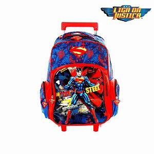 Kit Mochila Escolar Infantil Super Homem Com Rodinhas