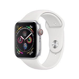 Apple Watch 4 GPS Case de Alumínio Prateado com Faixa Esportiva Branca