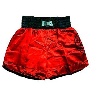 Shorts de Muay Thai Cetim Stamp Vermelho Rudel Sports Tamanho P