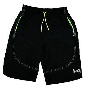 Bermuda Masculino Longer Preto e Verde Rudel Sports Tamanho M