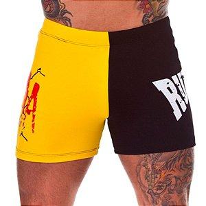 Shorts de Suplex S/Coquilha MMA Masculino Amarelo e Preto Rudel Sports