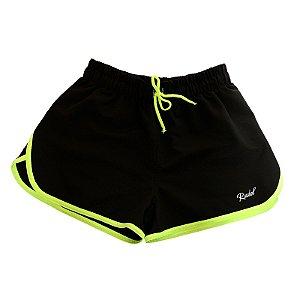 Shorts Feminino Sprint Preto e Verde Rudel Sports Tamanho G