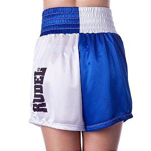 Shorts de Boxe Feminina Olimpic Azul e Branco Rudel Sports Tamanho P